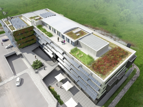 Solarwind is a CO2 neutral building with C2C certified products integrated, certified HQE, Breeam & DGNB. The building is located in Ecoparc Windhof GIE, using all available renewable technologies.