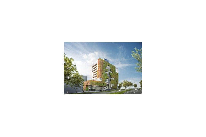 Integration between green facade with air system improves indoor and outdoor climate Stadskantoor Venlo: Modulogreen