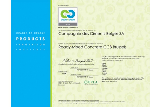 Ready-Mixed Concrete CCB Brussel received C2C Certificate