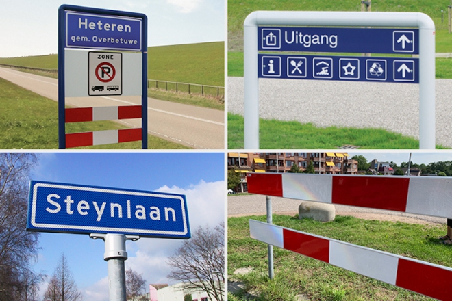 Aluminum powdercoated profiles for signage and traffic applications