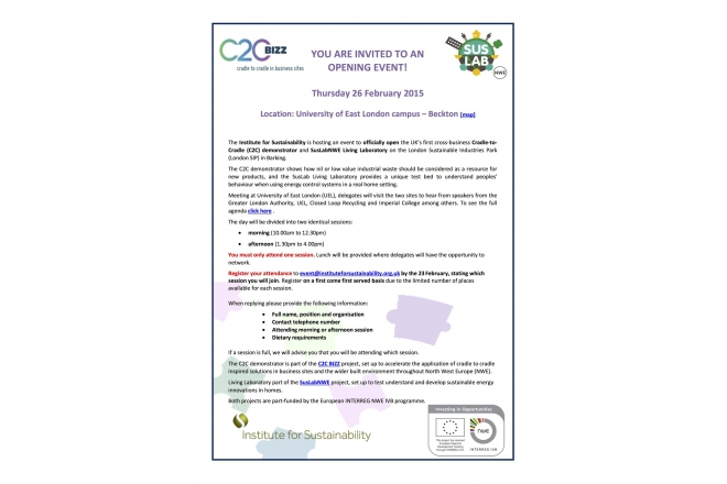 Register to attend! Joint opening of the C2C and Suslab living laboratory demonstrator 26 February