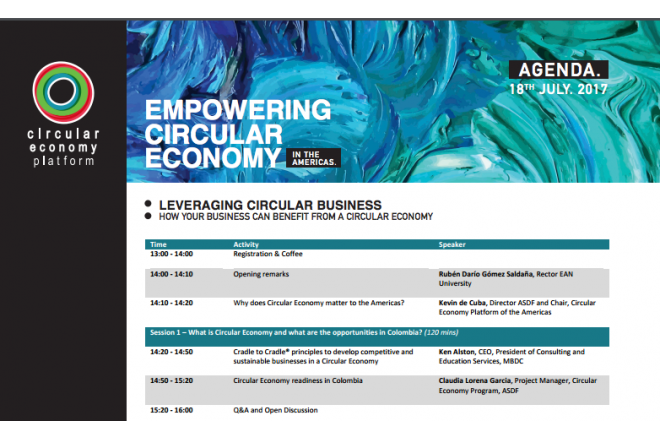 18 july Bogota high level business seminar: Leveraging Circular Business
