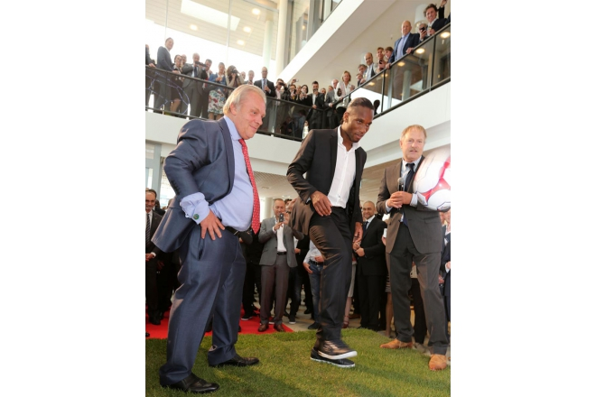 Didier Drogba opens the new headoffice of the soccerfederation FIFPro