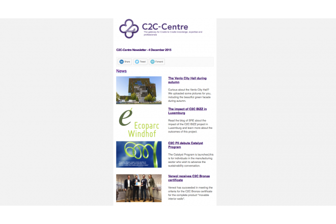 Cradle to Cradle newsletter of C2C-Centre of 4th December 2015