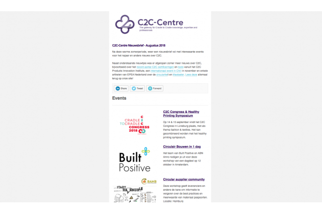 C2C-Centre nieuwsbrief is verstuurd