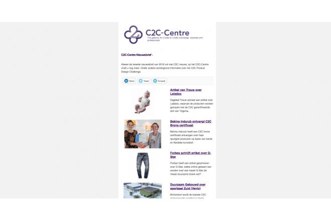 Nieuwsbrief C2C-Centre is vandaag verzonden